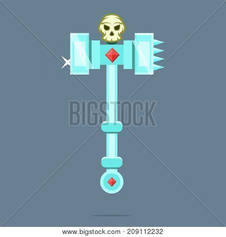 Fantasy Weapon Battle Hammer War Hammer. Vector illustration