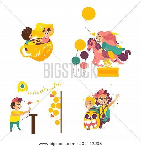 vector flat amusement park. Boy with bow, arrows in Shooting gallery, kid spinning at tea cup, girl at merry go round horse carousel, kids at roller coaster. Isolated illustration on white background.