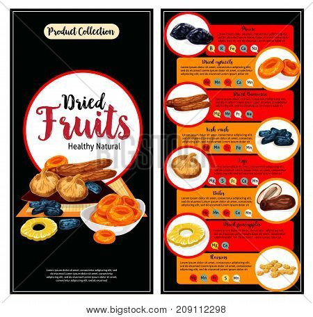 Dried fruit, superfood nutrition facts banner template set. Raisin or grape, apricot, prune or plum, date, fig, kishmish, candied pineapple ring and banana fruit with text layout of vitamin content