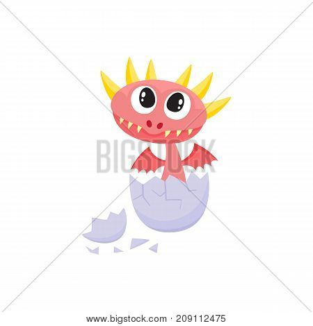 vector flat cartoon funny red dragon kid, baby with horns and wings hatching from egg. Isolated illustration on a white background. Fairy mysterious cute creature character for your design