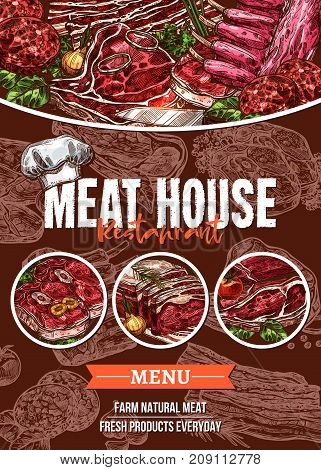 Meat menu banner for barbecue restaurant and steak house template. Beef and pork steak, grilled chicken, ground meat sausage and patty, bbq ribs and chops, lamb sirloin brisket sketch poster design