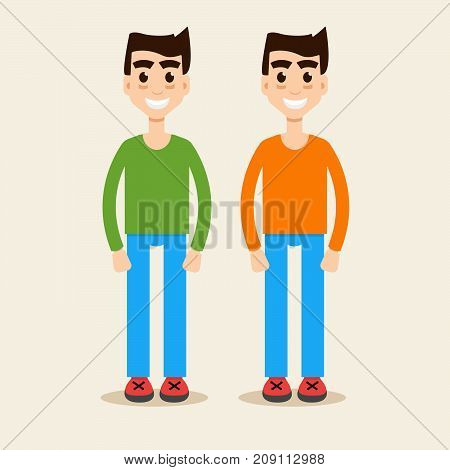 twins together two, boy, family. Vector illustration