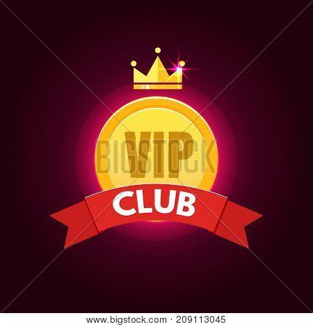 VIP club logo in flat style. Vector illustration
