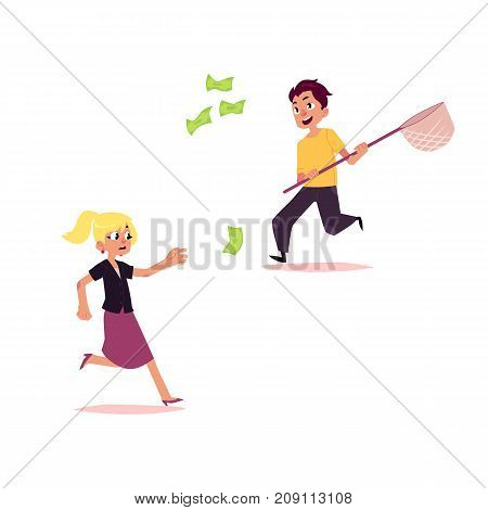 vector flat cartoon girl and boy running for money. Female, male people in casual clothing- man, woman in skirt chasing, trying to catch for dollar note. Isolated illustration on a white background.