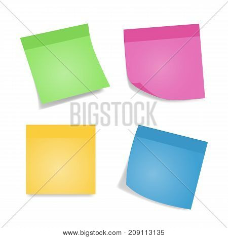Sticky notes. Four colorful sheets of note papers isolated on white background. Different color and shadow.