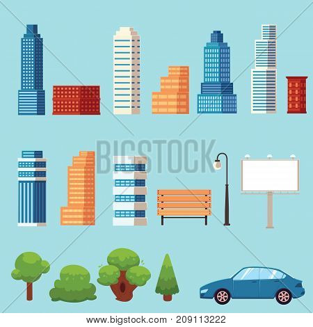 vector flat urban city objects set. Different buildings Skyscrapers, office centers shopping mall, city apartments houses, trees , car billboard bench and streetlight. Illustration on blue background