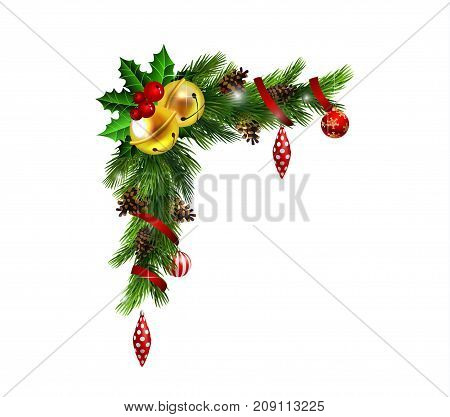 Christmas corner decoration with evergreen treess golden swirls and poinsettia with two golden jingle bells isolated vector