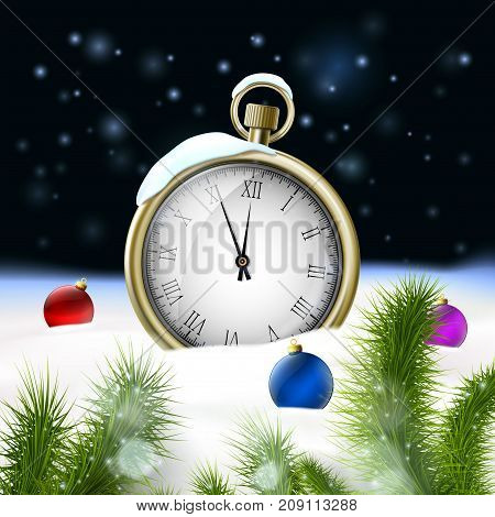 Christmas tree with balls. Clock with arrows in the snow. New Year background. Stock vector illustration.