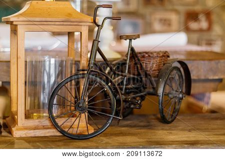 Interior of a Mediterranean restaurant Beautiful windows a bike