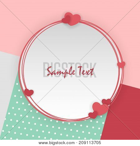 Empty greeting card Valentines Day holiday. Vintage romantic origami paper heart shape long shadow frame. Retro border Valentine's love design. Mock up material soft mint color template backdrop.