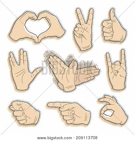Human vintage hand drawing with pointing finger, peace sign, love gesture, vulcan salute and thumb up, like good quality in retro style. Shadow play, portray a bird