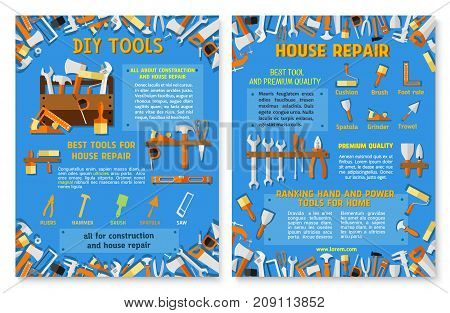 Construction and house repair work tool poster. Hand instrument and equipment banner template set with vector screwdriver, hammer, spanner, pliers, paint brush and roller, wrench, knife, tape measure