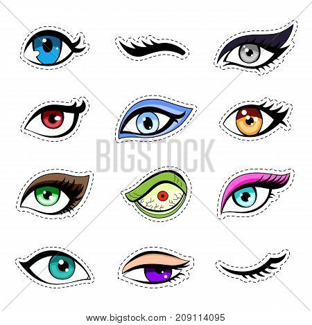 Stickers, patch set of woman eyes collection: eyelashes, eyes of fatal beauty, bright makeup, with different emotions.