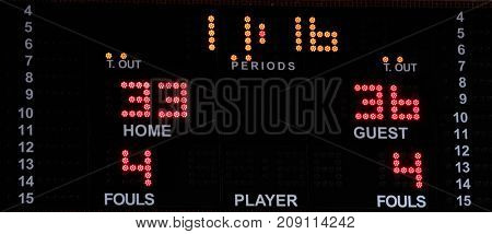 Basketball electronic scoreboard with bright numbers. Sports statistics: time out, score, time, period, fouls.