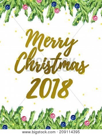 Watercolor artistic hand drawn christmas card design with fir tree garland frame confetti lettering greeting elements isolated on white background. Good for party flayer leaflet banner postcard.