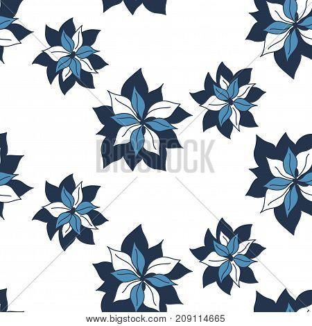 Tropical contrast seamless dark blue indigo flowers pattern on white background