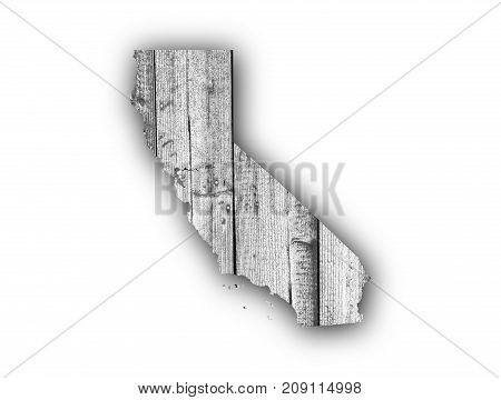 Map Of California On Weathered Wood