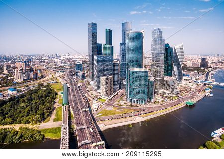Aerial view of Moscow downtown with Moskva River, Russia