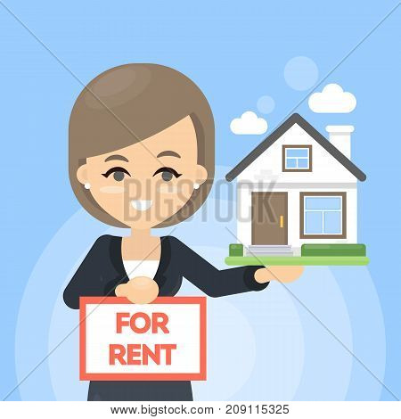 House for rent. Woman in suit offers new house.
