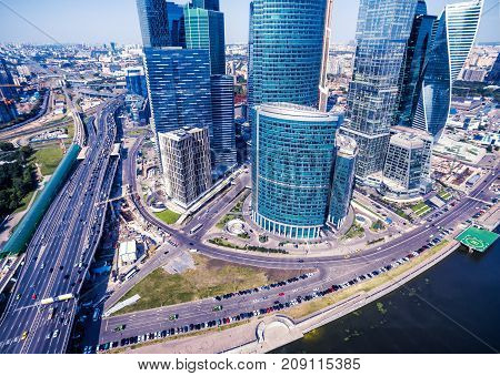 Aerial view of the Moscow downtown, Russia