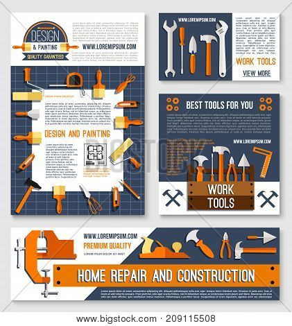 Home repair, construction tool poster template set with carpentry and house painting instrument. Hammer, screwdriver, spanner, pliers, wrench, paint brush, roller, tape measure for web banner design