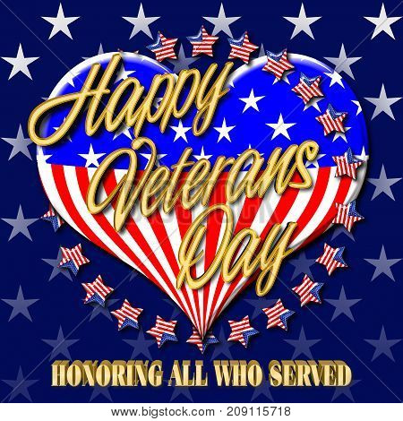 Happy Veterans Day, Dark blue background with white stars, 3D Illustration, Honoring all who served, American holiday template.