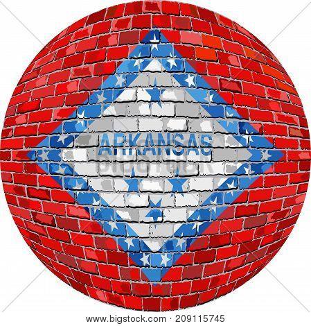 Ball with Arkansas flag brick style - Illustration