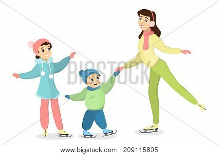 Family ice skating. Mother teaches son and daughter how to ice skate.