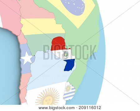 Paraguay With Flag On Globe