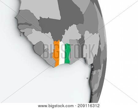 Map Of Ivory Coast With Flag