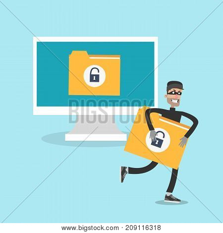 Data thief illustration. Man grabbing and runnig with data document.