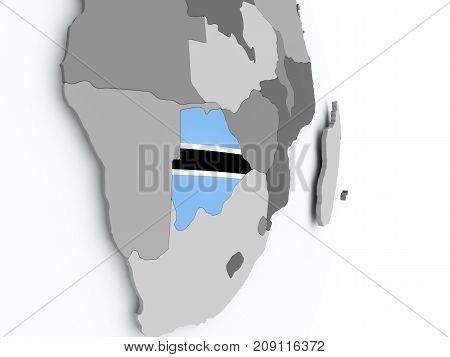 Map Of Botswana With Flag