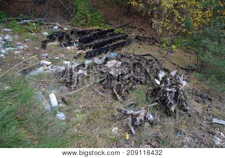 Environmental contamination. Illegal junk dump. October 15, 2017.Forest near Kiev, Ukraine