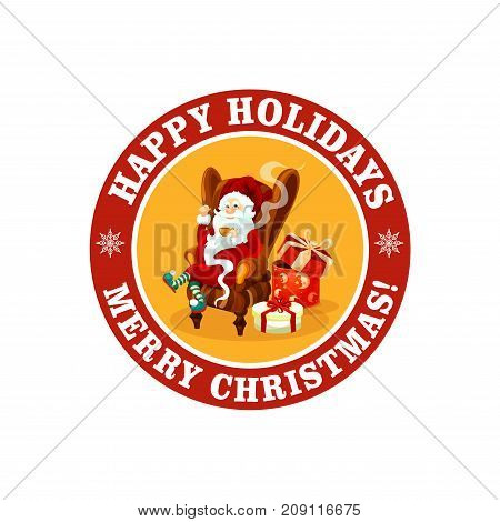 Merry Christmas and Happy Holiday icon for greeting card or New Year postcard design template. Vector Santa Claus with Xmas gifts bag on snowflake ribbon decoration for winter Xmas holiday season