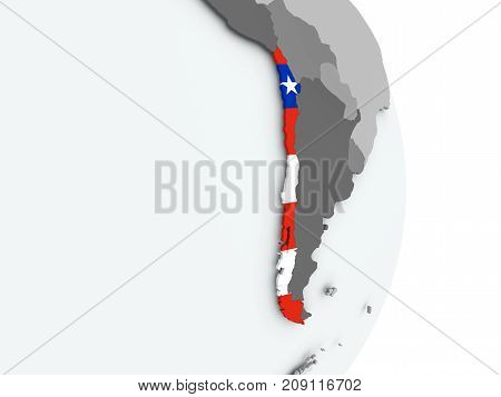 Map Of Chile With Flag