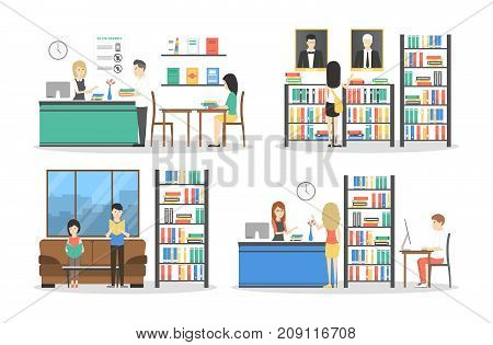 People at library set. Books on bookshelf with catalogue.