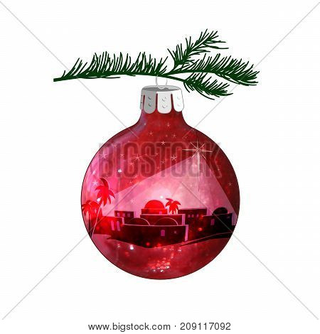 Christmas illustration of Bethlehem on a red ball ornament