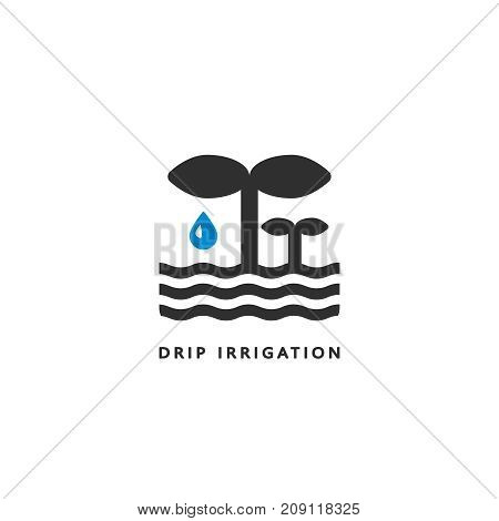 Vector icon of drip irrigation. A simple clean symbol. Logo for hydroponics, sprinkler and other types of irrigation.