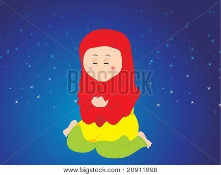 muslim woman calling allah during namaz