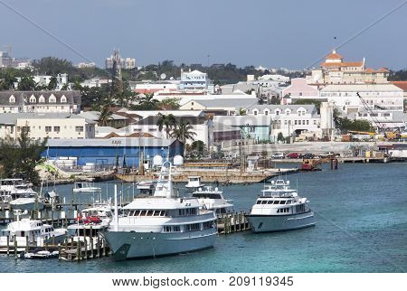 The view of marina and a downtown of Nassau the capital of the Bahamas.