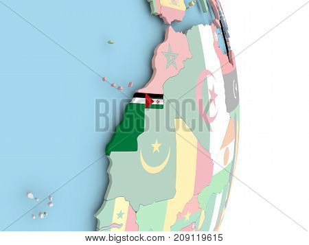 Western Sahara With Flag On Globe