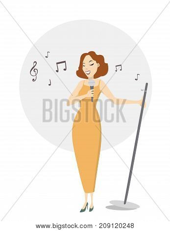 Isolated woman singer with mic on white background.