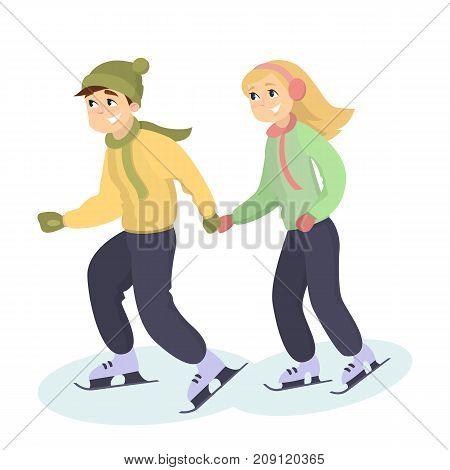 Couple ice skating. Young man and woman skating on rink.