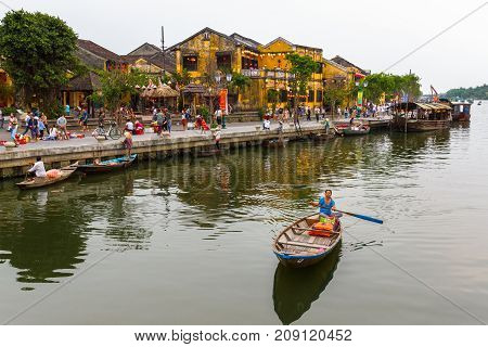 Riverside Tour Boats In Hoi An, Vietnam