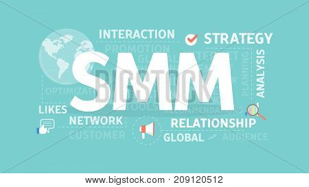 SMM concept illustration. Idea of interaction, strategy adn network.