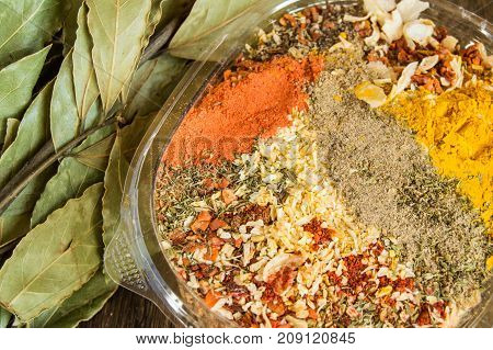 The Range Of Oriental Spices With Spicy Chilli, Curry And A Mixture Of Other Spices. Copy Space, Old