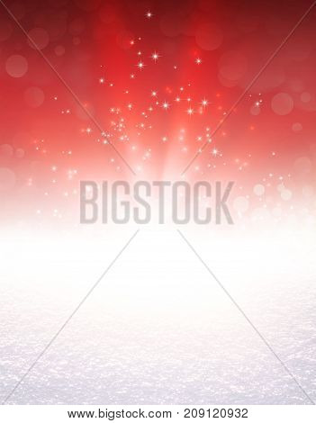 Red colored light explosion and glittering stars on a snow covered ground