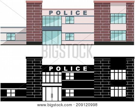 Detailed illustration of colored police department building and black silhouette isolated on white background in a flat style. Vector illustration.