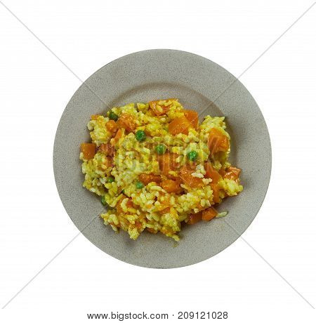 Spanish Vegetarian Pumpkin Paella , close up