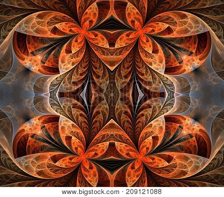 Computer generated fractal artwork with flying butterflies